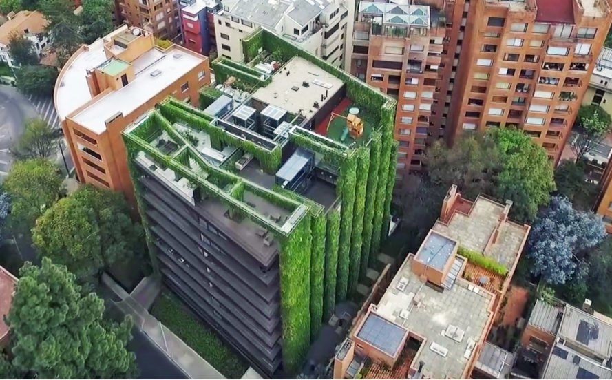 Santalaia vertical garden, largest vertical garden in the world, Santalaia building in Bogota, Paisajismo Urbano, Groncol, Colombia vertical garden