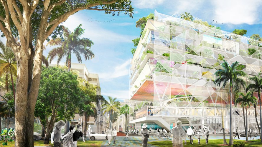 Ecosistema Urbano, Open Shore West Palm Beach, green masterplan,West Palm Beach, bioclimatic domes, Van Alen Institute, West Palm Beach Community Redevelopment Agency, Shore to Core competition, green architecture, hanging gardens, interactive exhibition, waterfront, coworking spaces