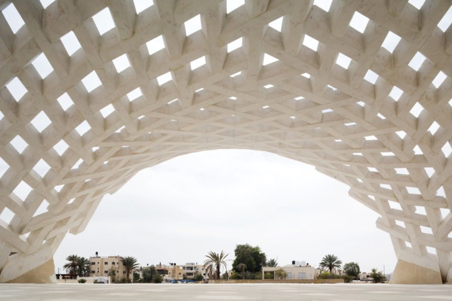 Stone Matters by AAU Anastas, Stone Matters Jericho, el-Atlal artists residency, el-Atlal in Jericho, stone architecture in Palestine, contemporary stone vault, latticed vault, modern stone construction, polystyrene formwork