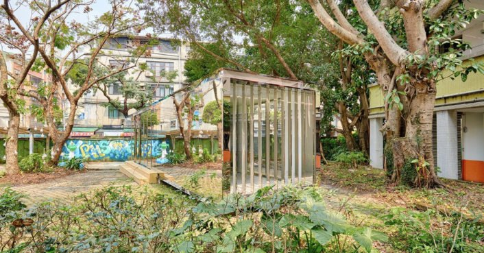Mirrored shipping container building reflects its natural surroundings in Taipei