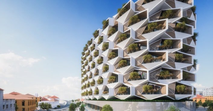 Trees will grow on the balconies of Istanbul's honeycomb-like apartments