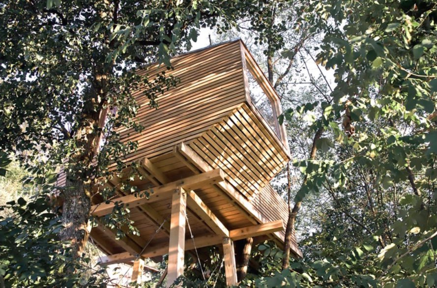 cabin, cabin in the trees, house on stilts, DIY design