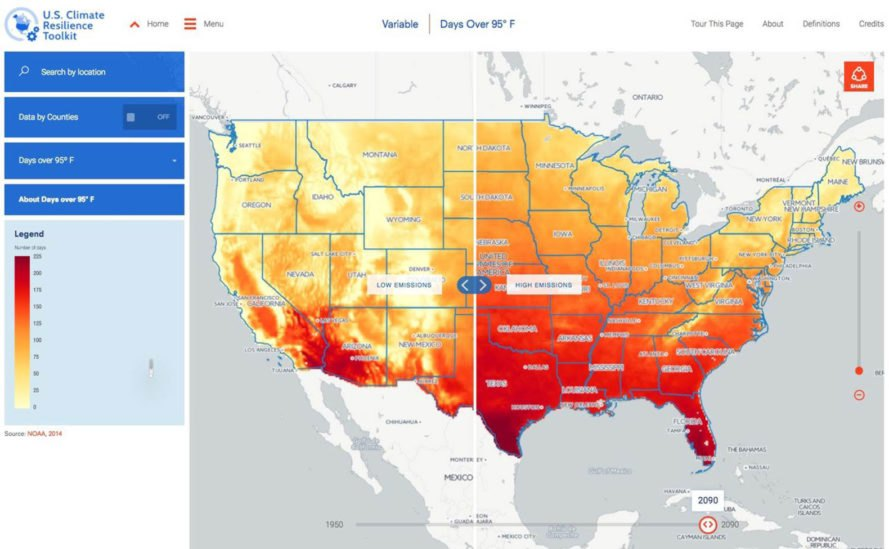 NOAA, Climate Explorer, National Oceanic and Atmospheric Administration, climate change, online tools, U.S. Climate Resilience Toolkit, global warming