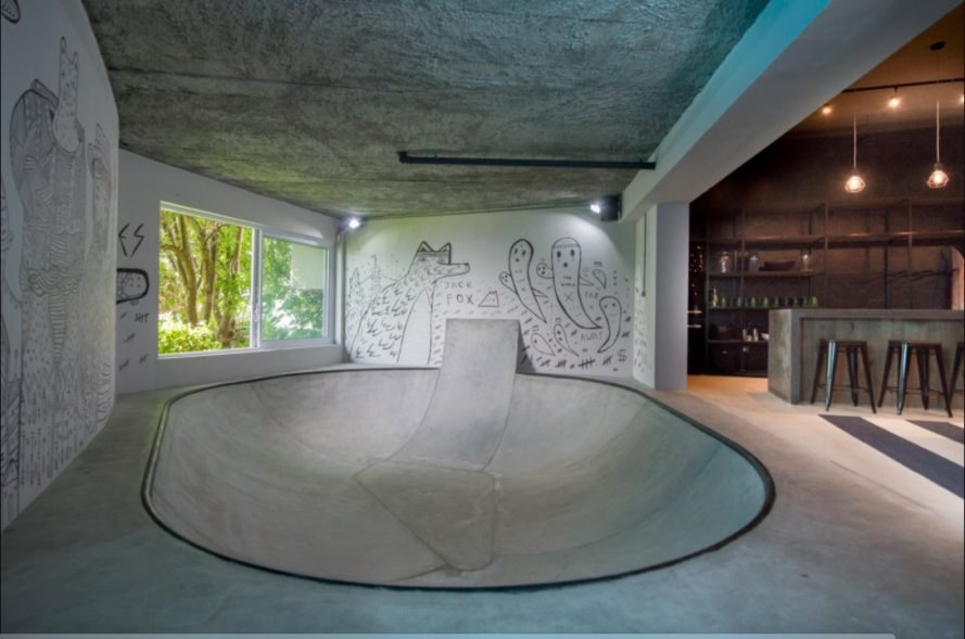 teen man cave, man cave, renovation, skatebowl