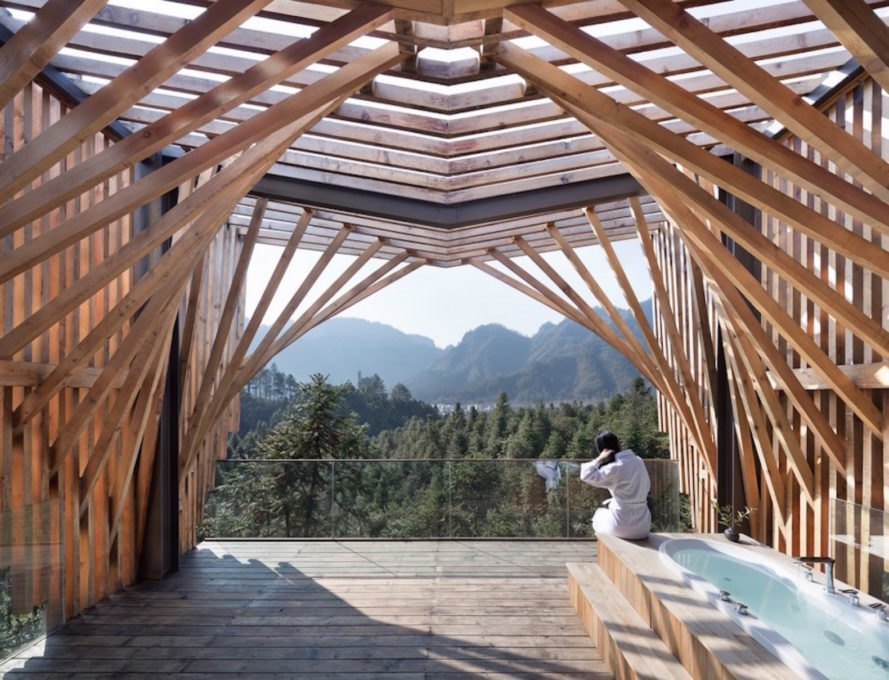 treehouse m by land studio, mount Qiyun treehouse, treehouse modern China, treehouse forest resort, M shaped architecture prefabricated treehouse, outdoor bathtub
