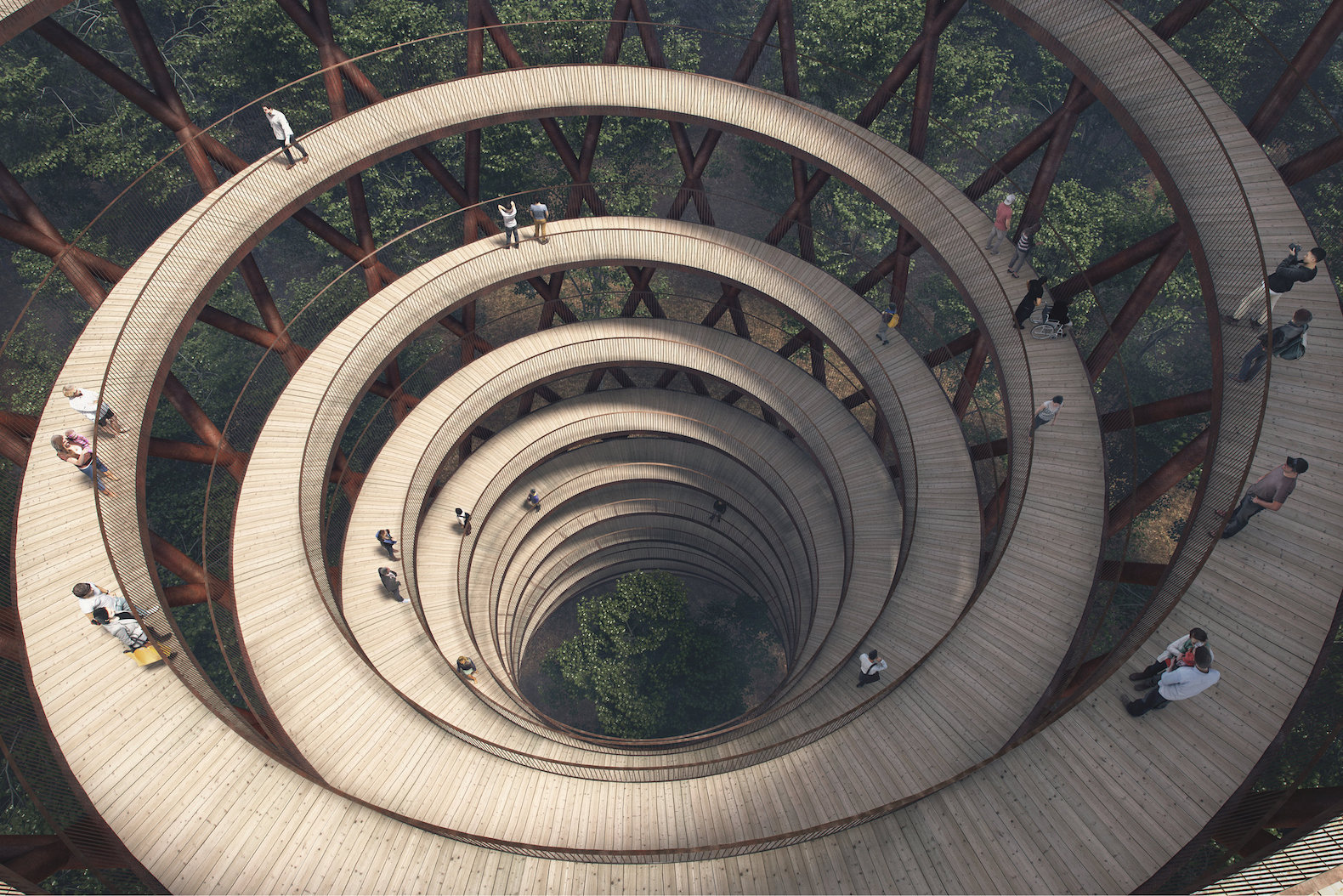 Spiraling treetop walkway gives visitors a bird's eye view of a Danish forest
