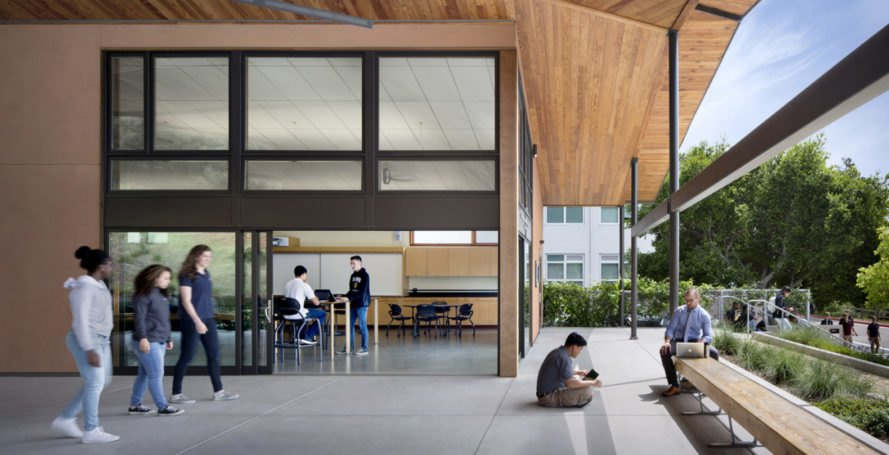Center for Environmental Studies (CES), Bishop O'Dowd high school, California, green classroom, green school, LEED Platinum, Zero Net Energy, Siegel & Strain Architects, green architecture, rainwater harvesting, natural materials, recycled materials, double glazing, solar gain
