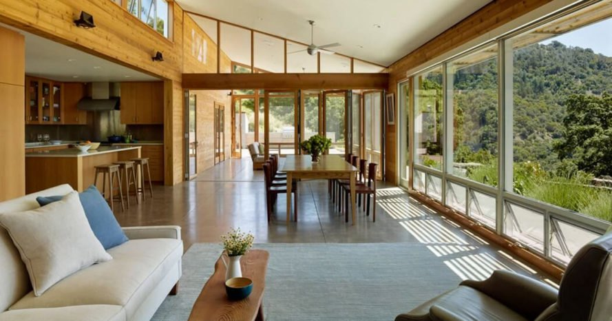Cloverdale Residence, Turnbull Griffin Haesloop Architects, solar-powered house, California, porch, reused timber, reclaimed wood, green architecture, small footprint, solar array, solar panels, heat pump, timber cladding