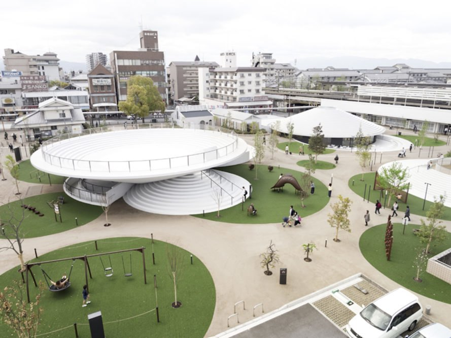 CoFuFun by Nendo, CoFuFun plaza, CoFuFun Japan, CoFuFun Tenri Station, Tenri station plaza, Cofun, ancient Japanese tombs, nendo public space, nendo design, nendo urban design, multirpurpose plaza design, precast white concrete,