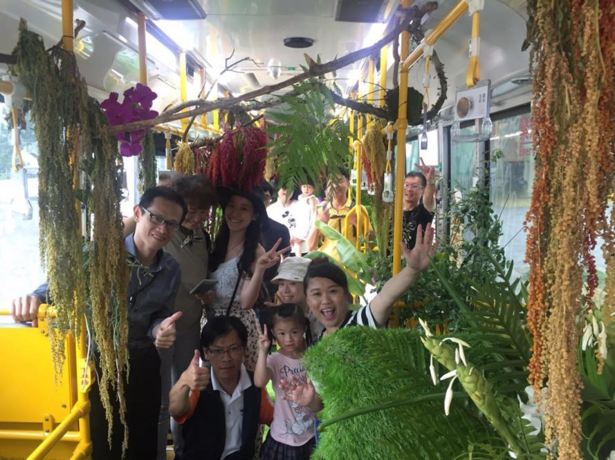 Forest Bus in Taipei, garden bus Taipei, tropical plant bus, botanical greenhouse bus, mobile nature art installation, Alfie Lin Forest Bus, Xiao Qing Yang Forest Bus, Mobile Forest in Taipei, Taipei Bus 203 forest,