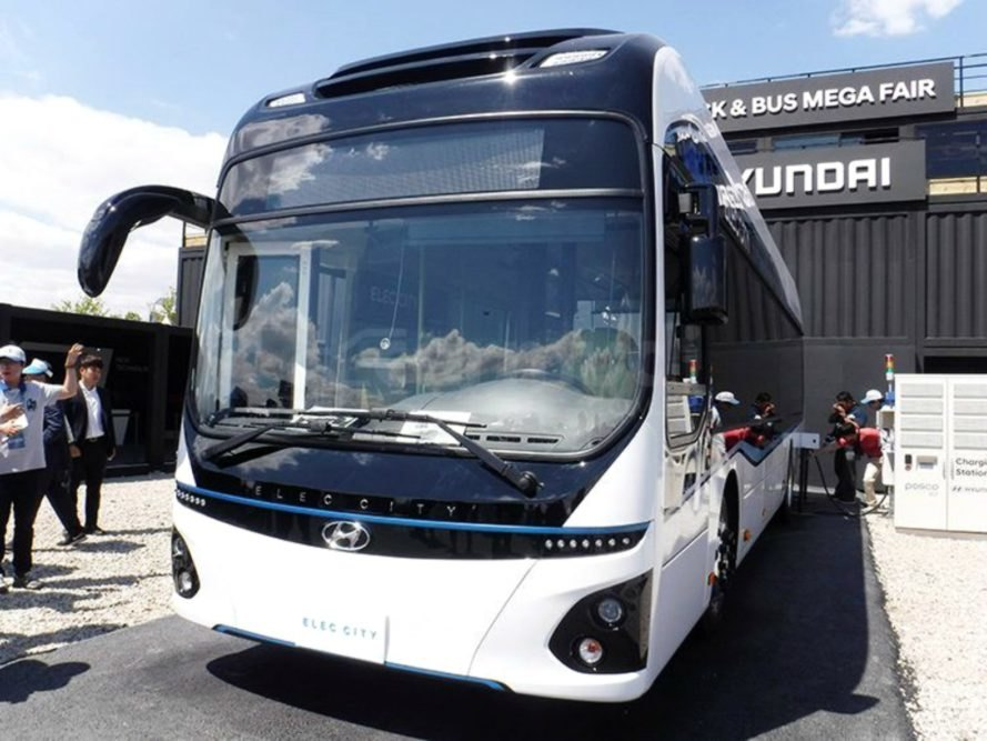 electric bus, Hyundai, green transportation, EV, eco-friendly,