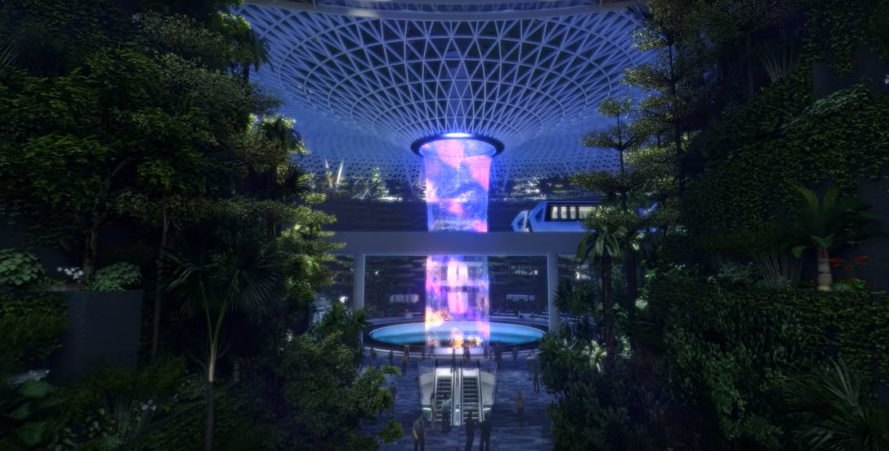 Jewel Changi Airport extension, Safdie Architects, WET Design, waterfall, glass dome, indoor garden, glass roof, green architecture, airport