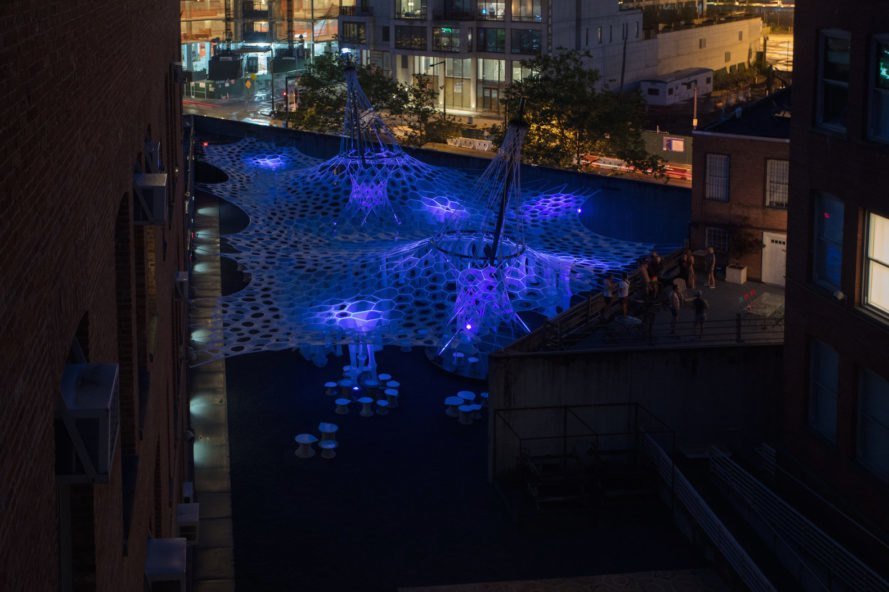 Lumen by Jenny Sabin Studio, Lumen at MoMA PS1, YAP 2017 winner, Warm Up installation MoMA, MOMA Warm Up, Lumen YAP 2017, Young Architects Program MoMA, MoMA PS1 summer installation, Lumen in NYC, Lumen canopy, Lumen art,