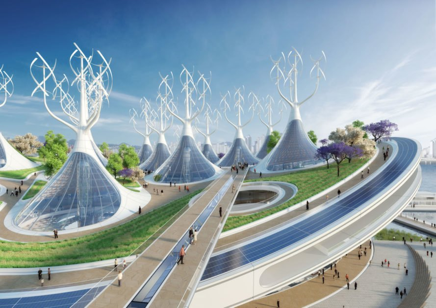 Manta Ray by Vincent Callebaut, Yeouido Park, Vincent Callebaut Seoul, Seoul Yeouido Park, Yeouido Park competition, hydrokinetic turbines architecture, biomethanation plant, solar-powered architecture Seoul, biomimetic architecture