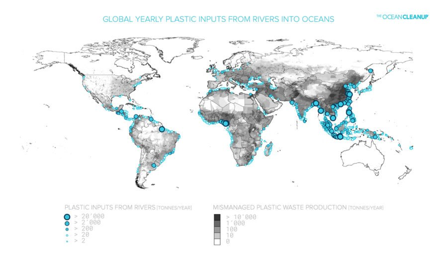 The Ocean Cleanup, Ocean Cleanup, Boyan Slat, plastic, plastic pollution, ocean plastic, ocean plastic pollution, river plastic, river plastic pollution, river, rivers, environment, environmental destruction, map, maps, world map, world maps