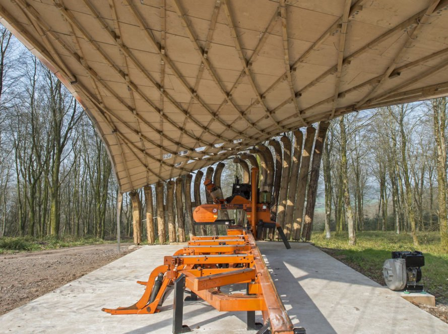 Sawmill Shelter in Hooke Park, timber in tension, tension timber pavilion, tension timber architecture, Sawmill Shelter by Design + Make, Sawmill Shelter by Architectural Association. Architectural Association Design + Make project, Hooke Park projects, anticlastic roof