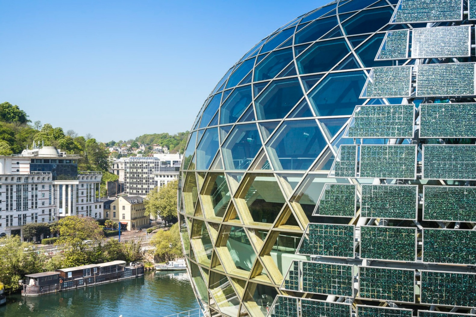 Shimmering Seine Musicale Is Wrapped In A Rotating Solar