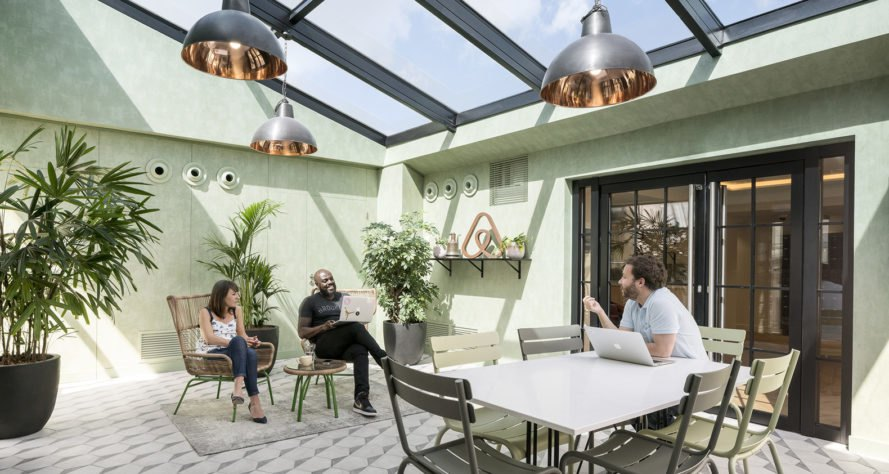 Airbnb, Paris, Airbnb environments, STUDIOS Architecture, office space, open-plan layout, green interior, natural light, solarium