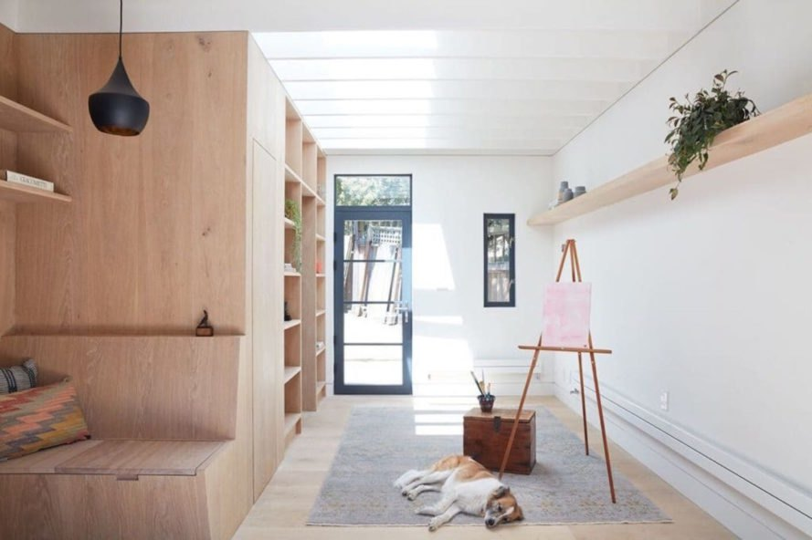 Clifford Studio by Beverly Choe, Clifford Studio San Francisco, converted garage to studio, garage turned work studio, adaptive reuse carriage house, adaptive reuse garage designs, board formed concrete planters,