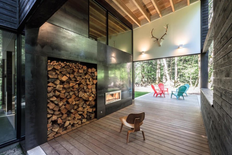 Courtyard House on a River by Robert Hutchison Architecture, Greenwater modern architecture, small home living movement, western red cedar clad home, Seattle retreat, zen like retreat, Crystal River Ranch House by Robert Hutchison Architecture