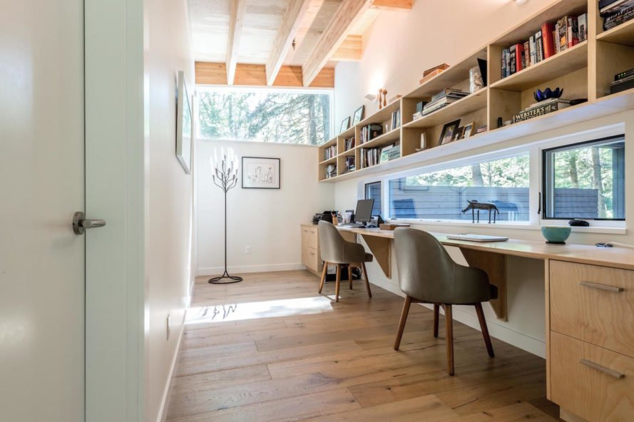 Courtyard House on a River by Robert Hutchison Architecture, Greenwater modern architecture, small home living movement, western red cedar clad home, Seattle retreat, zen like retreat,