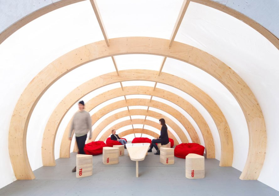 ELEVATE by DBR, LVL construction, ELEVATE for TED2016, ELEVATE TED conference, Design Build Research TED architecture, warming huts architecture, pop up warming huts, ELEVATE in Vancouver, laminated veneer lumber construction