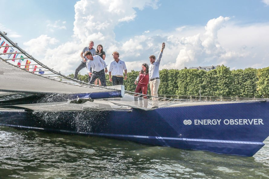 Energy Observer, France, Paris, Victorien Erussard, Jérôme Delafosse, boat, boats, catamaran, catamarans, clean energy, clean technology, renewable energy, solar, solar power, solar energy, solar panels, wind, wind power, wind energy, wind turbine, wind turbines, hydrogen, hydrogen fuel, hydrogen fuel cell, seawater, green transportation, sail, sailing