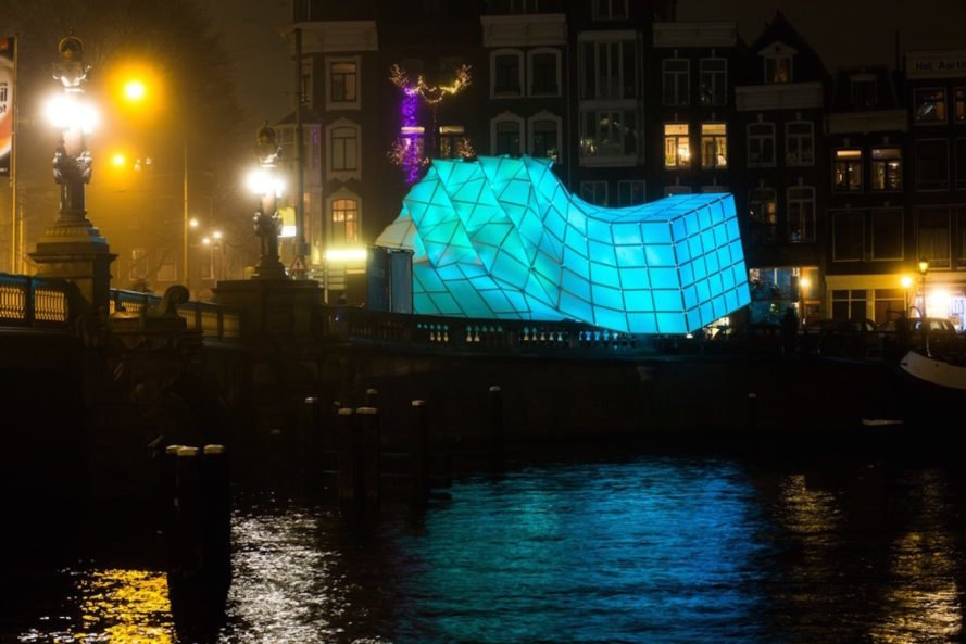 UNStudio and MDT-tex, Amsterdam Light Festival 2017, biomimetic pavilion design, Eye_Beacon in Amsterdam, Eye_Beacon by UNStudio and MDT-tex, Eye_Beacon light pavilion, Amstel River art, LED art sculpture, biomimicry in light installations