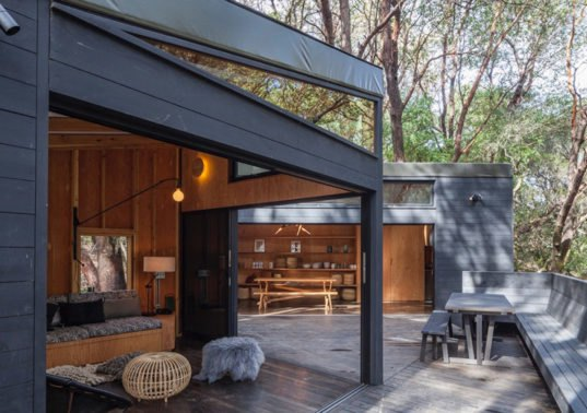 Tent cabin cluster blends perfectly into a californian forest for The design home