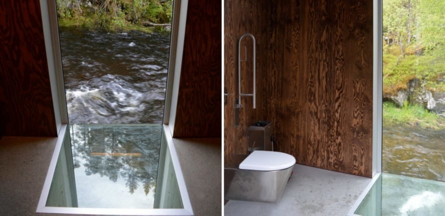 Fortunen AS, Østengen & Bergo, Skjervet waterfall architecture, Skjervet waterfall, landscape architecture, natural stone, waterfall structures, nature-inspired architecture, small spaces, tiny homes, tiny spaces, bathroom design, landscape design, green design,
