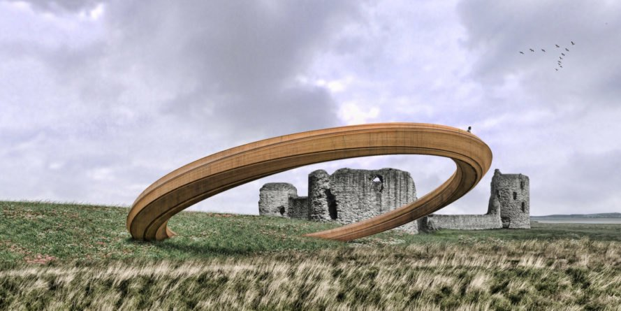 Iron Ring by George King Architects, Year of Legends Wales, Year of Legends design winner, Wales sculpture, Flint Castle sculpture, Iron Ring Year of Legends, Iron Ring Wales, Iron Ring sculpture, Iron Ring Flint Castle, Iron Ring Wales,