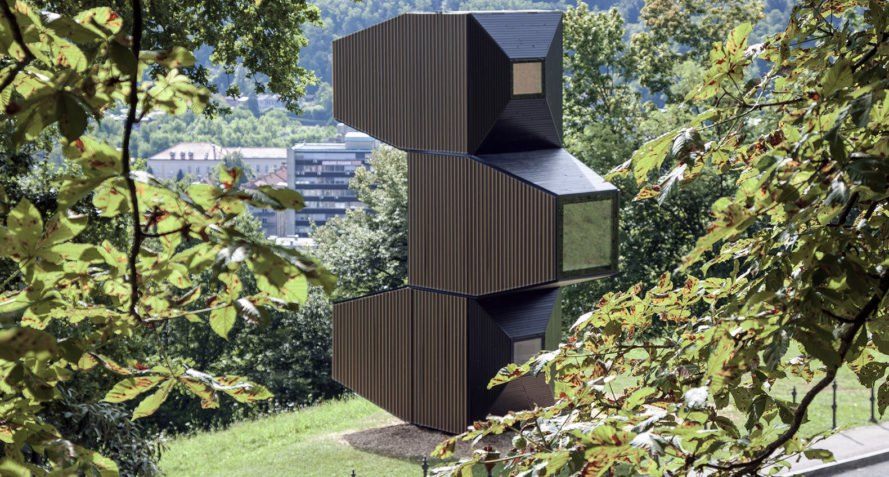 Ofis Arhitekti, modular design, wooden structures, temporary structure, library, Ljubljana, Slovenia, green architecture, temporary architecture, flexible spaces, concrete, cabin, temporary shelter, treehouse