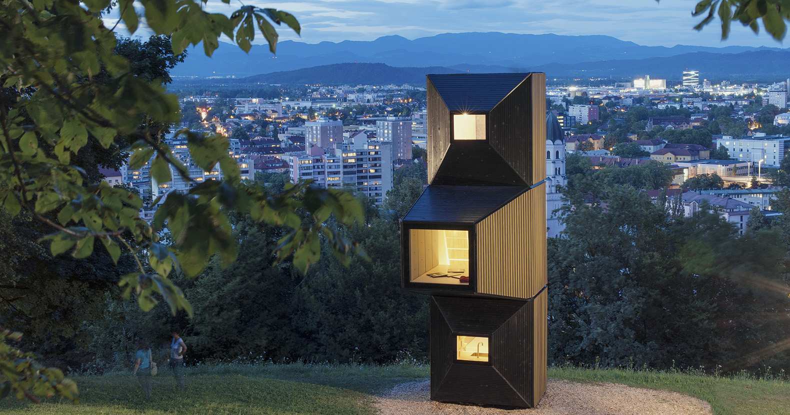 These wooden blocks can be stacked up to create cabins, treehouses, and wilderness shelters