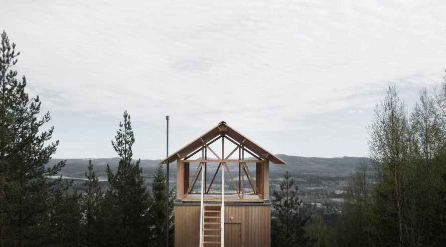Loft House, Hanna Michelson, timber structure, timber, Sweden, Bergaliv, green architecture, minimalist, wooden bench, spruce, natural light
