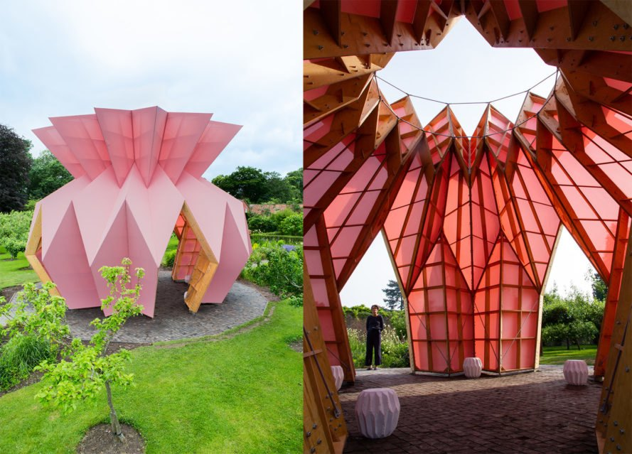 Look! Look! Look! by Studio Morison, Trust New Art at Berrington Hall, Capability Brown Trust New Art, walled garden Look! Look! Look!, Look! Look! Look! pavilion, pineapple architecture, pineapple pavilion, Arts Council England and Studio Morison,