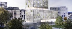 Mailänder Platz tower by RKW Architektur+, Stuttgart architecture, Stuttgart mixed use tower, Mailänder Platz architecture, Mailänder Platz tower, Mailänder Platz hotel, Mailänder Platz residences, grapevine green wall, grapevine on tower facade, stone-clad tower
