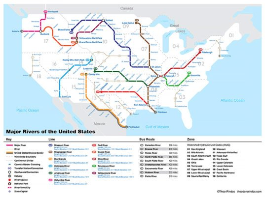 us map of major rivers New Subway Style Map Shows How Us Rivers Connect Cities And