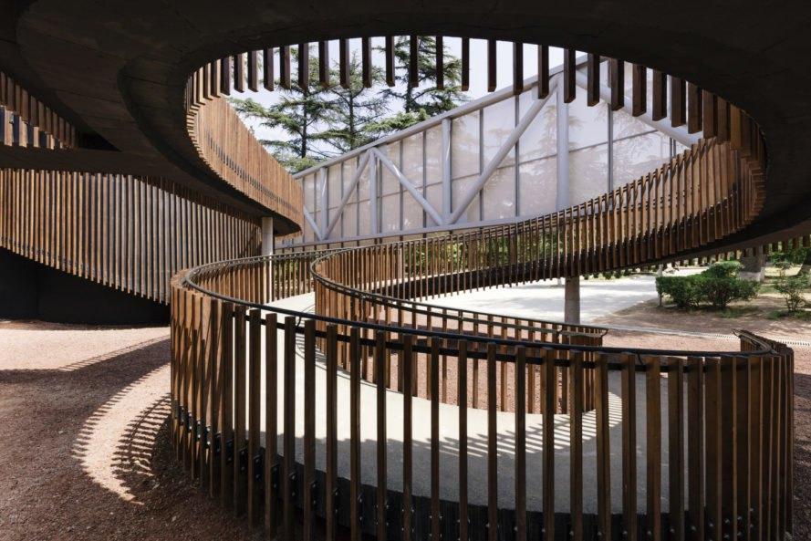 Mediathek, Laboratory of Architecture #3, Tbilisi library, multimedia library, library design, library architecture, wooden staircase, spiral staircase, architecture, wooden building materials, cantilevered buildings, rectangular buildings, library in Tbilisi, childrens library