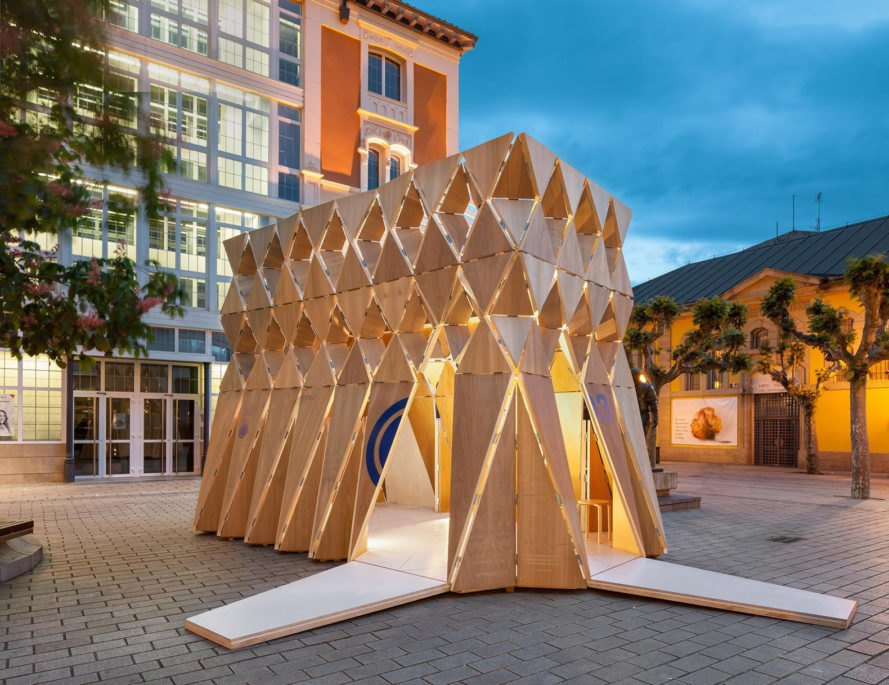 Beautiful Timber Pavilion Unfolds Like Origami Inhabitat Green