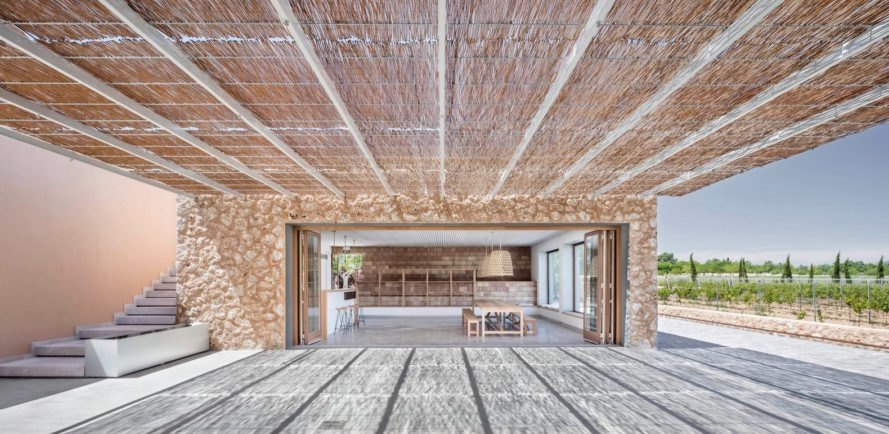 Son Juliana winery by Munarq Arquitectes, Majorca winery, solar powered winery, off grid winery, cork lined roofs, cork for insulating roofs, geothermal heat pump winery, renewable energy winery, off grid Majorca, Son Juliana winery,