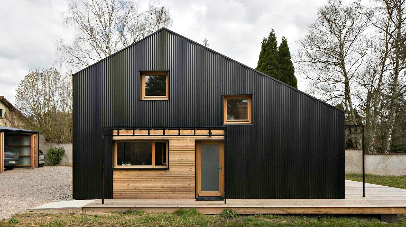 Studiolada used all wood materials to create this for Extreme home plans