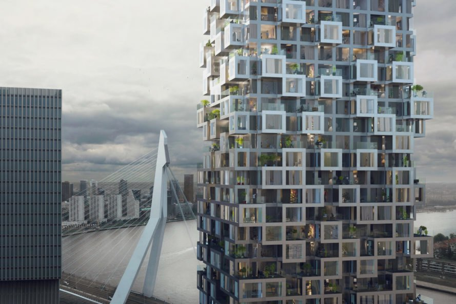The Sax by MVRDV, Wilhelminapier MVRDV, Wilhelminapier in Rotterdam, Wilhelminapier architecture, Wilhelminapier new projects, The Sax at Wilhelminapier, The Sax air bridge, air bridge hotel, The Sax in the Netherlands,