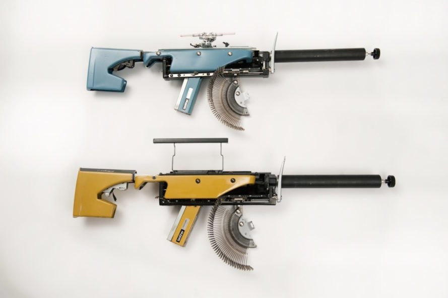 Typewriter Guns by Eric Nado, reconstructive artworks, typewriter guns, recycled typewriters, gun artworks, Underwood typewriters, vintage typewriter art, Eric Nado sculpture, recycled artworks by Eric Nado