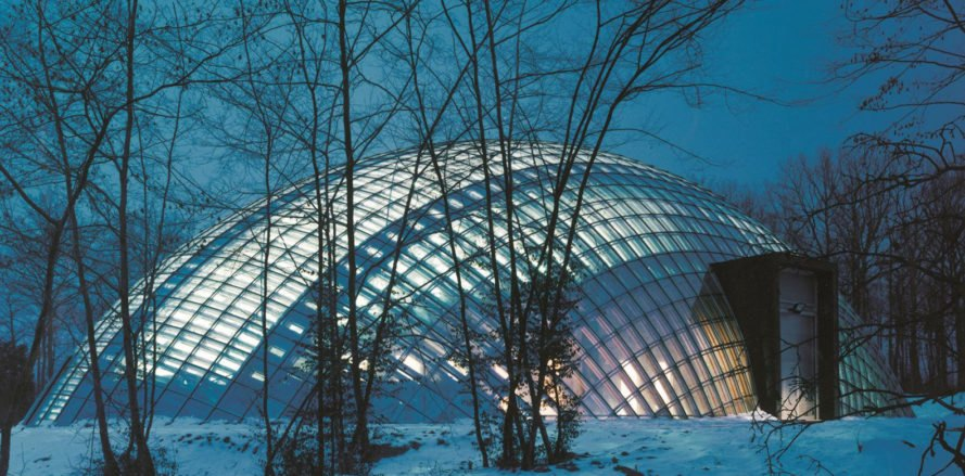 Walloon Branch of Reproduction Forestry Material, SAMYN and PARTNERS, dome, Belgium, reinforced concrete, glass, green architecture, geodesic dome