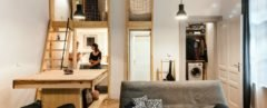 Micro housing, micro studio, Architecture Uncomfortable Workshop, lofted bedroom, tiny homes, tiny space design, tiny home living, tiny home interior design, flexible furniture, micro studio hungary, interior design, wooden furniture, bespoke furniture, furniture design,