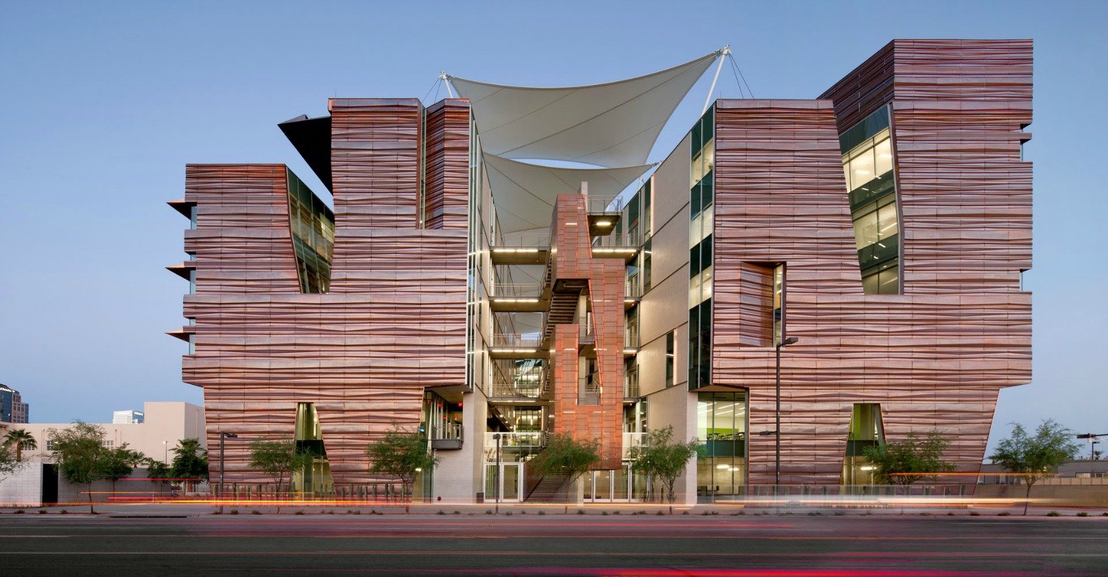 phoenix copper building architecture biomedical recycled research panels sciences center buildings clad architects canyon gorgeous inspired facades sustainable innovation cladding