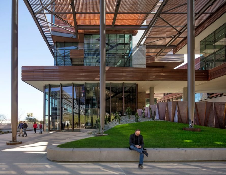 CO Architects, Phoenix Biomedical Sciences building, phoenix architecture, copper cladding, leed certification, leed silver buildings, copper sunscreen, copper buildings, copper facades, resilient architecture, green design, sustainable design, recycled copper,