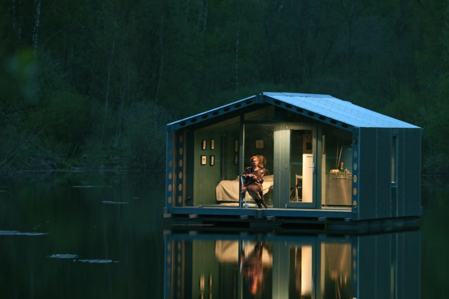 DD16 by BIO Architects, DD16 cabin, DD16 prototype, DD16 cabin near Moscow, prefabricated Moscow building, prefabricated floating architecture, floating modular architecture, off-grid floating house, off-grid modular architecture, off-grid prefab home