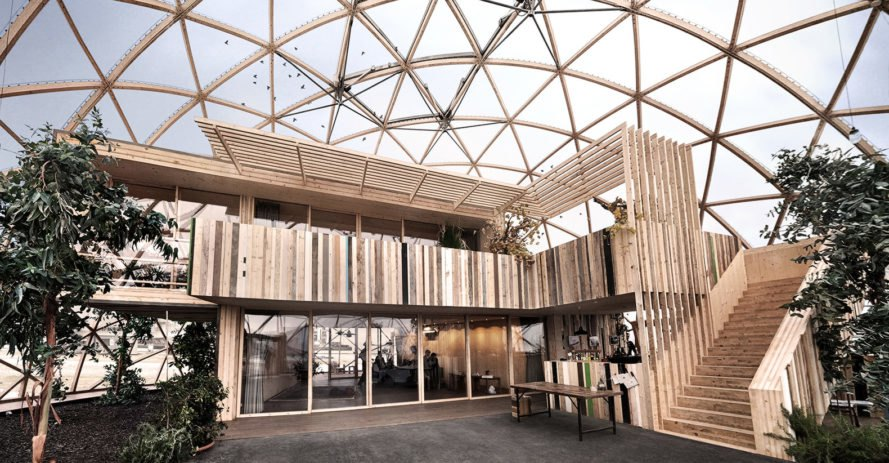 Dome of Visions, Metsä Wood, Atelier Kristoffer Tejlgaard, geodesic dome, curved wooden beams, laminated veneer, sustainable wood, Kerto LVL, greenhouse, green building materials, green architecture