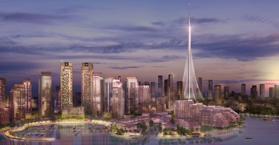 Dubai Creek Tower, Emaar Properties, Dubai Creek Harbour, Santiago Calatrava, world's tallest building, Dubai Creek, green tower, green architecture, Burj Khalifa, observation deck, mosque
